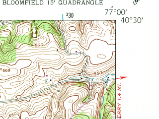 Reduced fragment of topographic map en--usgs--024k--013028--(1952)--N040-30-00_W077-07-30--N040-22-30_W077-00-00; towns and cities Duncannon