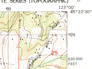 Reduced fragment of topographic map en--usgs--024k--013044--(1956)--N045-22-30_W123-07-30--N045-15-00_W123-00-00; towns and cities Dundee