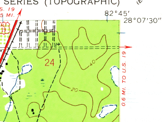 Reduced fragment of topographic map en--usgs--024k--013051--(1943)--N028-07-30_W082-52-30--N028-00-00_W082-45-00; towns and cities Palm Harbor, Dunedin