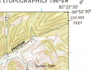 Reduced fragment of topographic map en--usgs--024k--013052--(1957)--N036-52-30_W082-30-00--N036-45-00_W082-22-30; towns and cities Dungannon, Nickelsville