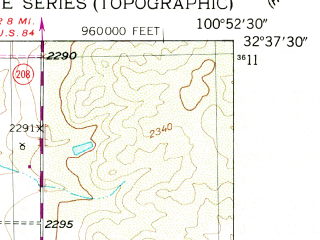 Reduced fragment of topographic map en--usgs--024k--013073--(1951)--N032-37-30_W101-00-00--N032-30-00_W100-52-30