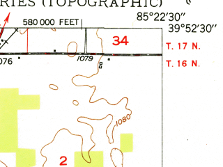 Reduced fragment of topographic map en--usgs--024k--013098--(1950)--N039-52-30_W085-30-00--N039-45-00_W085-22-30; towns and cities Dunreith, Spiceland