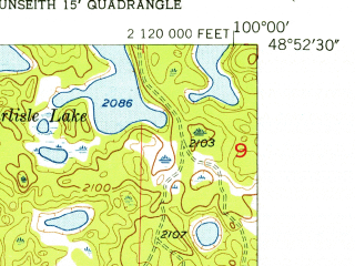 Reduced fragment of topographic map en--usgs--024k--013099--(1955)--N048-52-30_W100-07-30--N048-45-00_W100-00-00; towns and cities East Dunseith, Dunseith