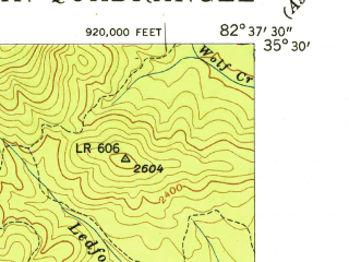 Reduced fragment of topographic map en--usgs--024k--013101--(1943)--N035-30-00_W082-45-00--N035-22-30_W082-37-30