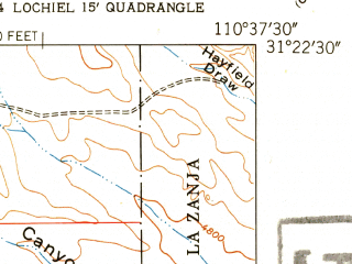 Reduced fragment of topographic map en--usgs--024k--013111--(1948)--N031-22-30_W110-45-00--N031-15-00_W110-37-30