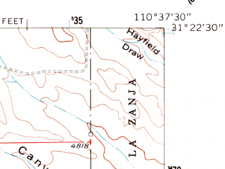 Reduced fragment of topographic map en--usgs--024k--013111--(1958)--N031-22-30_W110-45-00--N031-15-00_W110-37-30