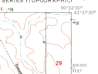 Reduced fragment of topographic map en--usgs--024k--013124--(1953)--N041-37-30_W091-00-00--N041-30-00_W090-52-30; towns and cities Durant