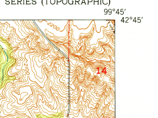 Reduced fragment of topographic map en--usgs--024k--013159--(1950)--N042-45-00_W099-52-30--N042-37-30_W099-45-00