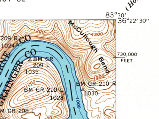 Reduced fragment of topographic map en--usgs--024k--013173--(1942)--N036-22-30_W083-37-30--N036-15-00_W083-30-00; towns and cities Rutledge