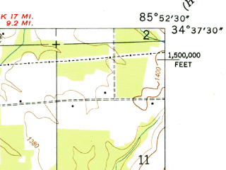 Reduced fragment of topographic map en--usgs--024k--013180--(1950)--N034-37-30_W086-00-00--N034-30-00_W085-52-30; towns and cities Powell, Section, Dutton