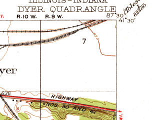 Reduced fragment of topographic map en--usgs--024k--013205--(1930)--N041-30-00_W087-37-30--N041-22-30_W087-30-00; towns and cities Crete, Sauk Village