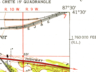 Reduced fragment of topographic map en--usgs--024k--013205--(1953)--N041-30-00_W087-37-30--N041-22-30_W087-30-00; towns and cities Crete, Sauk Village