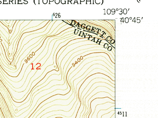 Reduced fragment of topographic map en--usgs--024k--013207--(1950)--N040-45-00_W109-37-30--N040-37-30_W109-30-00