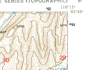 Reduced fragment of topographic map en--usgs--024k--013223--(1953)--N043-45-00_W116-22-30--N043-37-30_W116-15-00; towns and cities Garden City, Eagle