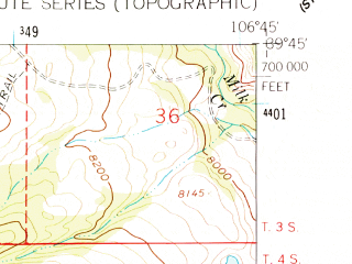Reduced fragment of topographic map en--usgs--024k--013227--(1962)--N039-45-00_W106-52-30--N039-37-30_W106-45-00; towns and cities Eagle
