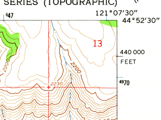 Reduced fragment of topographic map en--usgs--024k--013231--(1962)--N044-52-30_W121-15-00--N044-45-00_W121-07-30