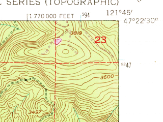 Reduced fragment of topographic map en--usgs--024k--013242--(1953)--N047-22-30_W121-52-30--N047-15-00_W121-45-00