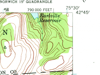 Reduced fragment of topographic map en--usgs--024k--013313--(1943)--N042-45-00_W075-37-30--N042-37-30_W075-30-00; towns and cities Earlville, Smyrna