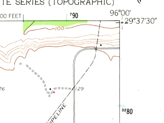 Reduced fragment of topographic map en--usgs--024k--013338--(1960)--N029-37-30_W096-07-30--N029-30-00_W096-00-00; towns and cities East Bernard