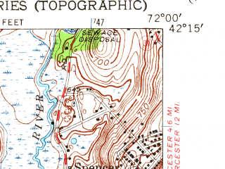 Reduced fragment of topographic map en--usgs--024k--013342--(1954)--N042-15-00_W072-07-30--N042-07-30_W072-00-00 in area of Quaboag Pond; towns and cities East Brookfield