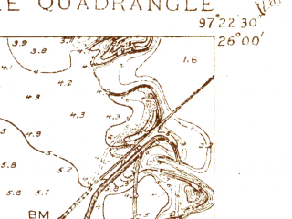 Reduced fragment of topographic map en--usgs--024k--013343--(1930)--N026-00-00_W097-30-00--N025-52-30_W097-22-30; towns and cities Brownsville, Cameron Park