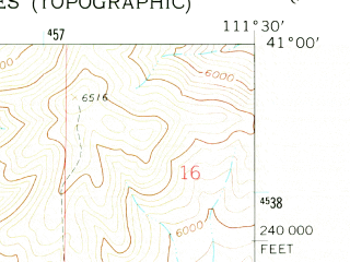 Reduced fragment of topographic map en--usgs--024k--013347--(1961)--N041-00-00_W111-37-30--N040-52-30_W111-30-00