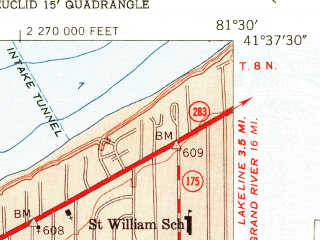 Reduced fragment of topographic map en--usgs--024k--013354--(1953)--N041-37-30_W081-37-30--N041-30-00_W081-30-00; towns and cities Cleveland Heights, Euclid, East Cleveland, South Euclid, Richmond Heights