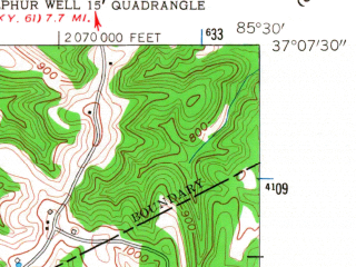 Reduced fragment of topographic map en--usgs--024k--013368--(1953)--N037-07-30_W085-37-30--N037-00-00_W085-30-00