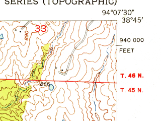 Reduced fragment of topographic map en--usgs--024k--013400--(1954)--N038-45-00_W094-15-00--N038-37-30_W094-07-30; towns and cities East Lynne, Gunn City