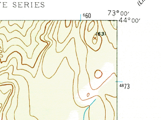 Reduced fragment of topographic map en--usgs--024k--013403--(1944)--N044-00-00_W073-07-30--N043-52-30_W073-00-00 in area of Lake Dunmore