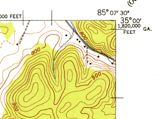 Reduced fragment of topographic map en--usgs--024k--013481--(1943)--N035-00-00_W085-15-00--N034-52-30_W085-07-30; towns and cities East Ridge, Indian Springs