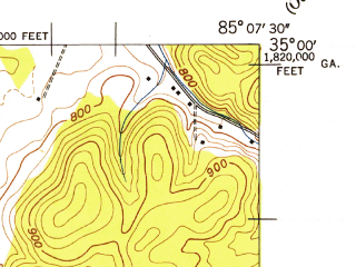 Reduced fragment of topographic map en--usgs--024k--013481--(1946)--N035-00-00_W085-15-00--N034-52-30_W085-07-30; towns and cities East Ridge, Indian Springs