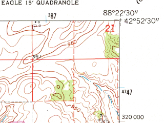 Reduced fragment of topographic map en--usgs--024k--013492--(1960)--N042-52-30_W088-30-00--N042-45-00_W088-22-30; towns and cities East Troy