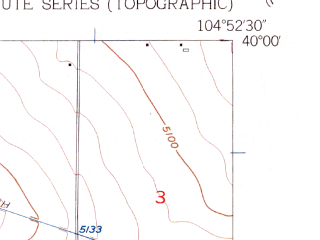 Reduced fragment of topographic map en--usgs--024k--013507--(1957)--N040-00-00_W105-00-00--N039-52-30_W104-52-30; towns and cities Thornton, Northglenn