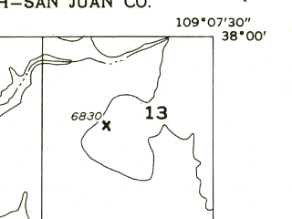 Reduced fragment of topographic map en--usgs--024k--013511--(1959)--N038-00-00_W109-15-00--N037-52-30_W109-07-30