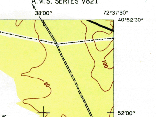 Reduced fragment of topographic map en--usgs--024k--013531--(1947)--N040-52-30_W072-45-00--N040-45-00_W072-37-30; towns and cities Westhampton Beach, Remsenburg-speonk, Westhampton