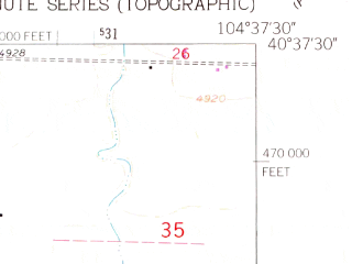 Reduced fragment of topographic map en--usgs--024k--013538--(1960)--N040-37-30_W104-45-00--N040-30-00_W104-37-30; towns and cities Ault, Eaton