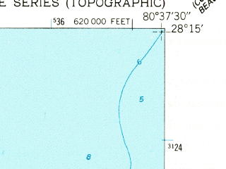 Reduced fragment of topographic map en--usgs--024k--013551--(1949)--N028-15-00_W080-45-00--N028-07-30_W080-37-30; towns and cities Palm Shores