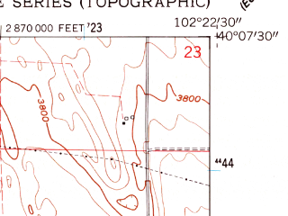 Reduced fragment of topographic map en--usgs--024k--013589--(1961)--N040-07-30_W102-30-00--N040-00-00_W102-22-30; towns and cities Eckley