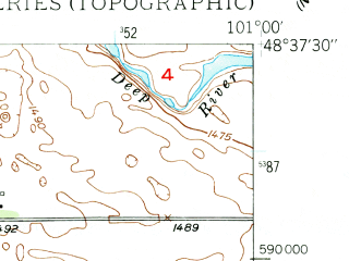 Reduced fragment of topographic map en--usgs--024k--013592--(1949)--N048-37-30_W101-07-30--N048-30-00_W101-00-00