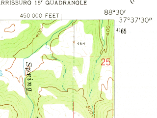 Reduced fragment of topographic map en--usgs--024k--013609--(1961)--N037-37-30_W088-37-30--N037-30-00_W088-30-00; towns and cities Eddyville