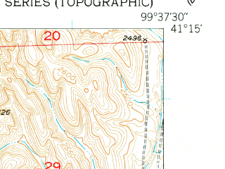 Reduced fragment of topographic map en--usgs--024k--013611--(1951)--N041-15-00_W099-45-00--N041-07-30_W099-37-30