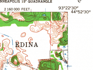 Reduced fragment of topographic map en--usgs--024k--013627--(1954)--N044-52-30_W093-30-00--N044-45-00_W093-22-30; towns and cities Eden Prairie, Shakopee