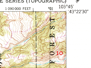 Reduced fragment of topographic map en--usgs--024k--013654--(1950)--N043-22-30_W103-52-30--N043-15-00_W103-45-00; towns and cities Edgemont