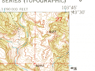 Reduced fragment of topographic map en--usgs--024k--013655--(1950)--N043-30-00_W103-52-30--N043-22-30_W103-45-00