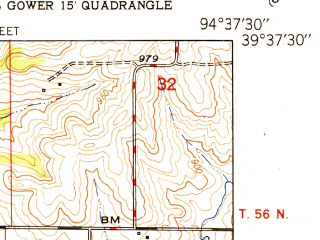 Reduced fragment of topographic map en--usgs--024k--013659--(1951)--N039-37-30_W094-45-00--N039-30-00_W094-37-30