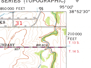 Reduced fragment of topographic map en--usgs--024k--013660--(1956)--N038-52-30_W095-07-30--N038-45-00_W095-00-00; towns and cities Edgerton