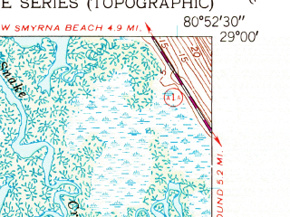 Reduced fragment of topographic map en--usgs--024k--013667--(1950)--N029-00-00_W081-00-00--N028-52-30_W080-52-30; towns and cities Edgewater