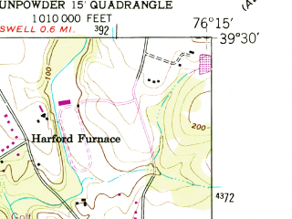 Reduced fragment of topographic map en--usgs--024k--013671--(1949)--N039-30-00_W076-22-30--N039-22-30_W076-15-00; towns and cities Edgewood, Joppatowne