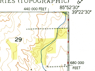 Reduced fragment of topographic map en--usgs--024k--013686--(1948)--N039-22-30_W086-00-00--N039-15-00_W085-52-30; towns and cities Edinburgh, Taylorsville